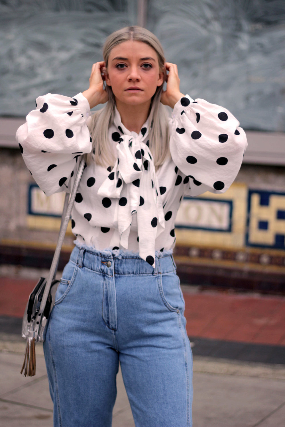 PUSSY BOW POLKA DOT BLOUSE, WIDE LEG FRAYED TOPSHOP JEANS, BLACK ANKLE BOOTS, NORTHERN MAGPIE, JOEY TAYLOR 5