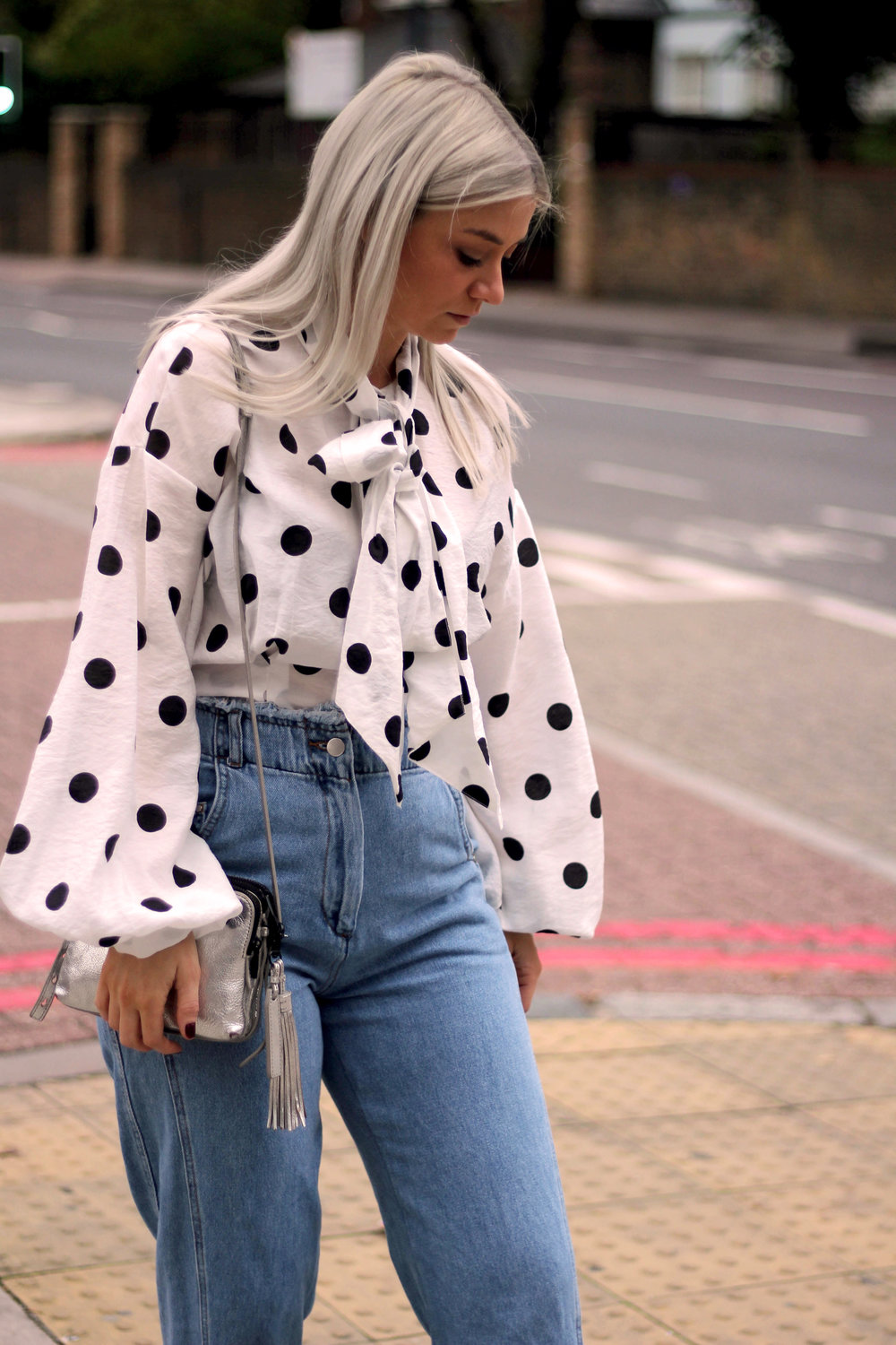 PUSSY BOW POLKA DOT BLOUSE, WIDE LEG FRAYED TOPSHOP JEANS, BLACK ANKLE BOOTS, NORTHERN MAGPIE, JOEY TAYLOR 6