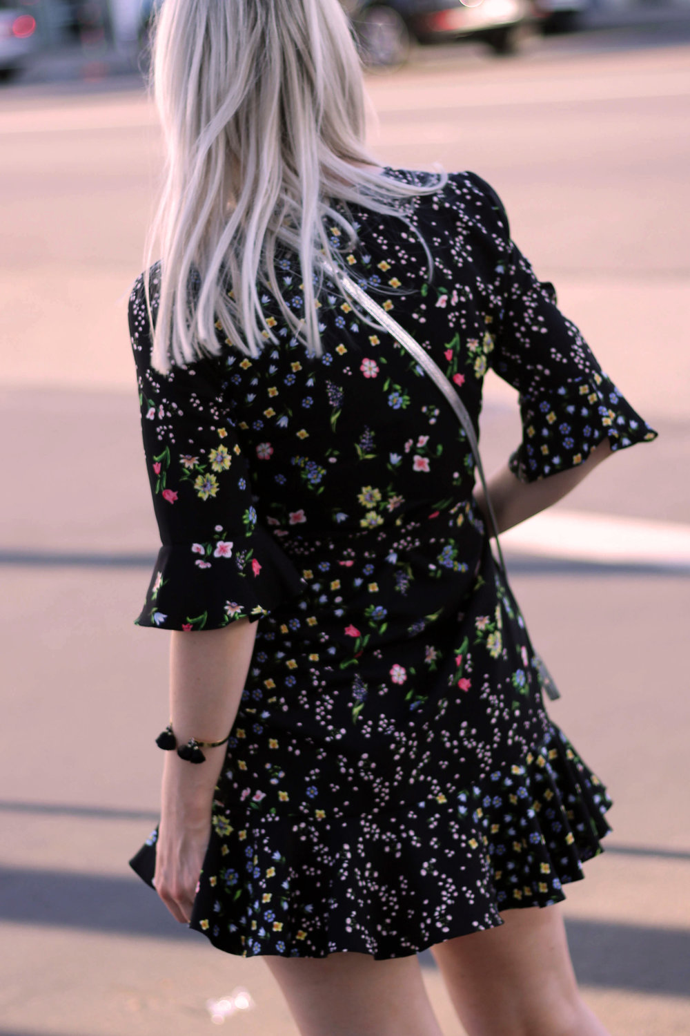 topshop wrap dress, dark floral print, silver bag, los angeles, northern magpie, joey taylor 6