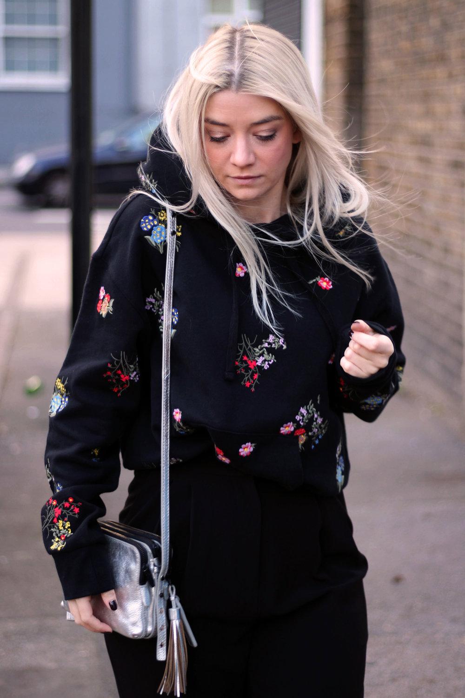 ERDEMxHM HOODIE, floral hoodie, silver boots, northern magpie, joey taylor 1