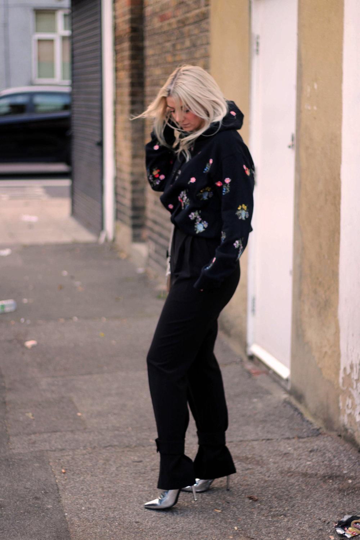 ERDEMxHM HOODIE, floral hoodie, silver boots, northern magpie, joey taylor 2