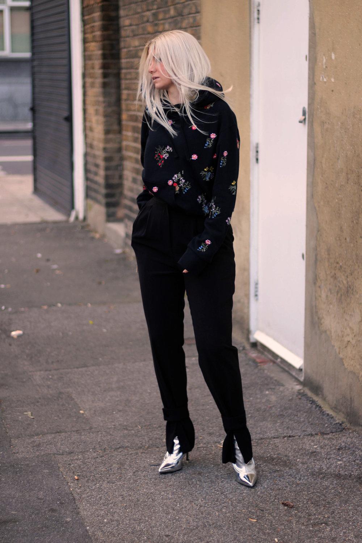 ERDEMxHM HOODIE, floral hoodie, silver boots, northern magpie, joey taylor 7