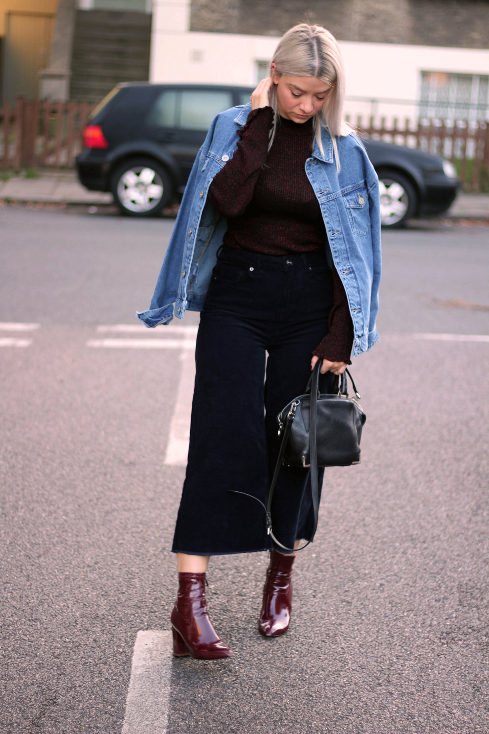 corduroy jeans, knitted high neck top, denim jacket, urban outfitters, joey taylor, northern magpie 1