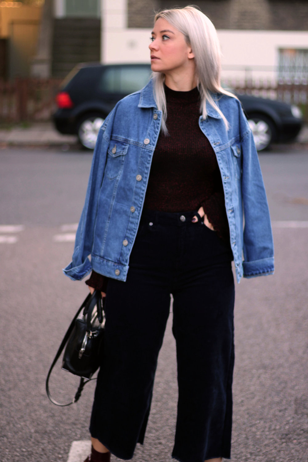 corduroy jeans, knitted high neck top, denim jacket, urban outfitters, joey taylor, northern magpie 2