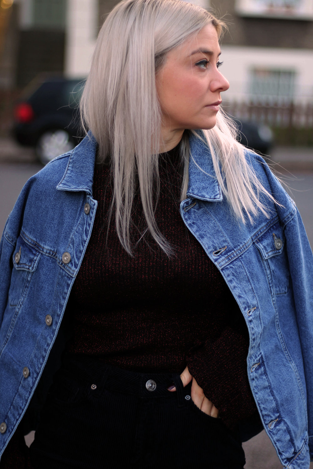 corduroy jeans, knitted high neck top, denim jacket, urban outfitters, joey taylor, northern magpie 4