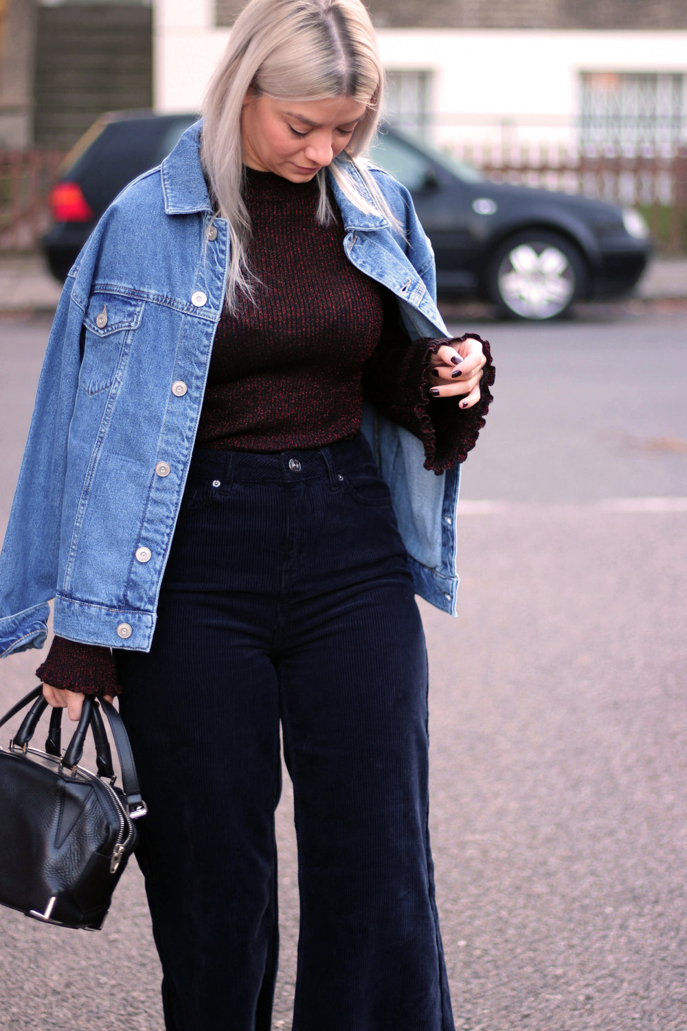 corduroy jeans, knitted high neck top, denim jacket, urban outfitters, joey taylor, northern magpie 6