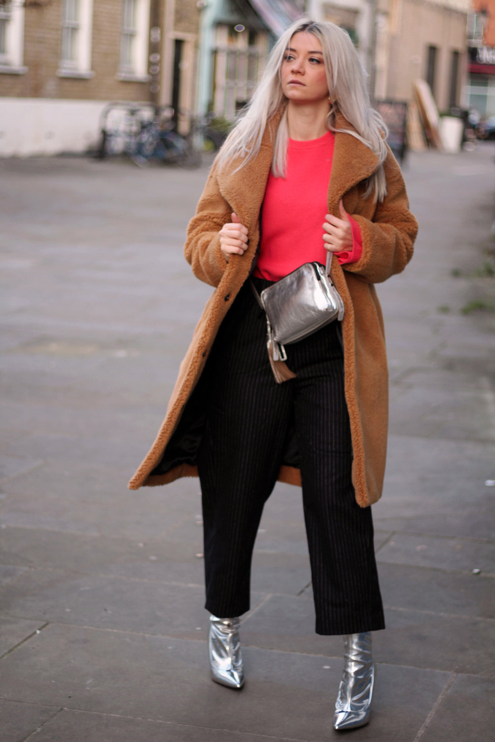 coral knitted michael kors top, pinstripe weekday trousers, silver metallic boots, teddy bear coat, northern magpie 5