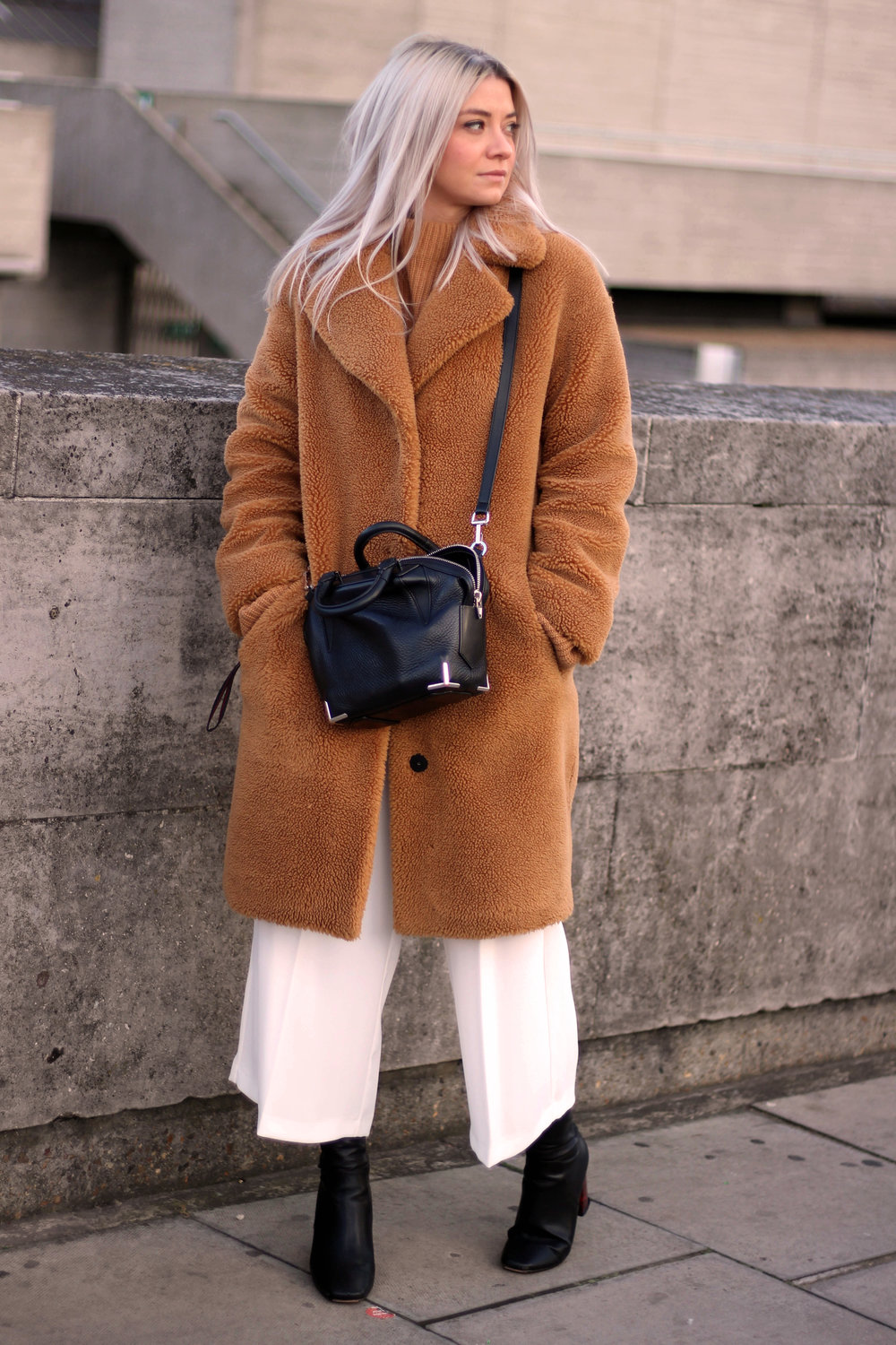 CAMEL TEDDY BEAR ICON COAT, TOPSHOP WHITE TROUSERS, NORTHERN MAGPIE, JOEY TAYLOR 7
