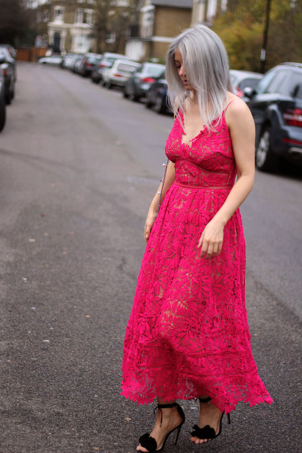 red lace maxi dress, strappy sandals, grey hair, northern magpie, joey taylor 1