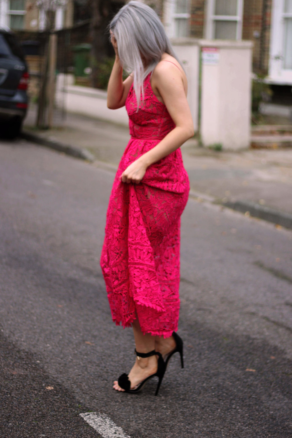 red lace maxi dress, strappy sandals, grey hair, northern magpie, joey taylor 3