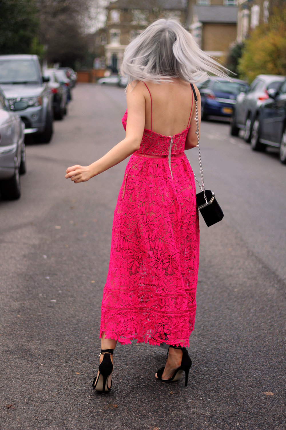 red lace maxi dress, strappy sandals, grey hair, northern magpie, joey taylor 5