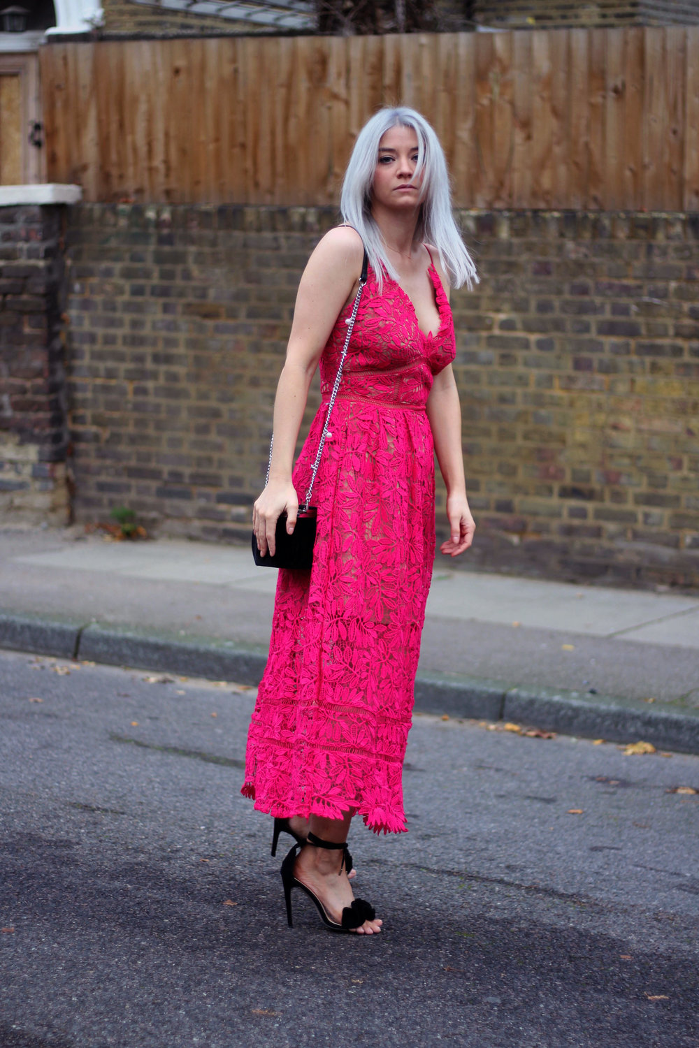 red lace maxi dress, strappy sandals, grey hair, northern magpie, joey taylor 7