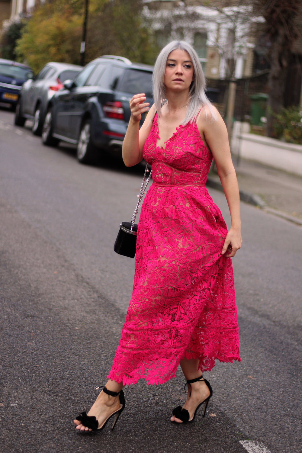 red lace maxi dress, strappy sandals, grey hair, northern magpie, joey taylor 4