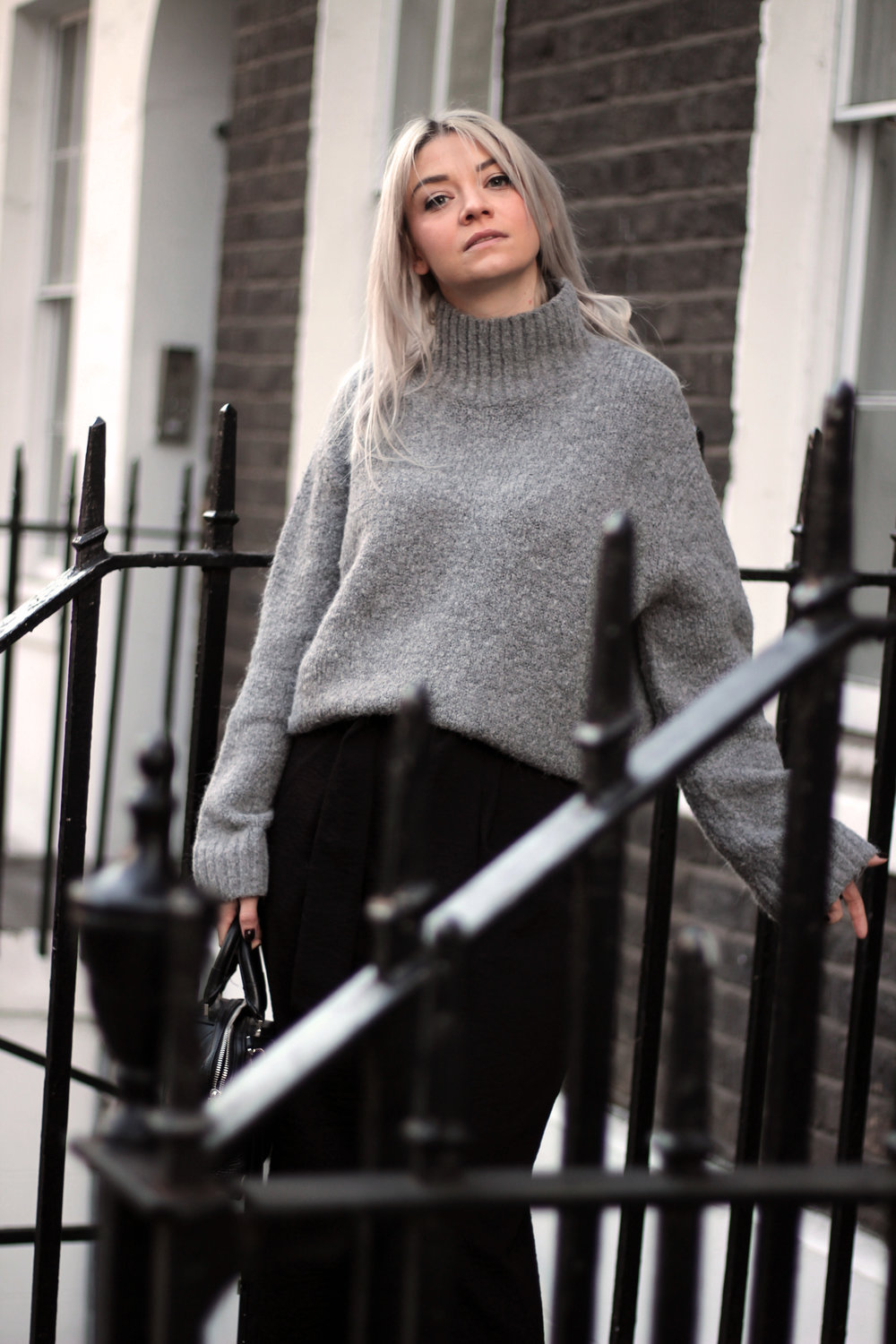 grey jumper, black trousers, suede boots, northern magpie, joey taylor 3