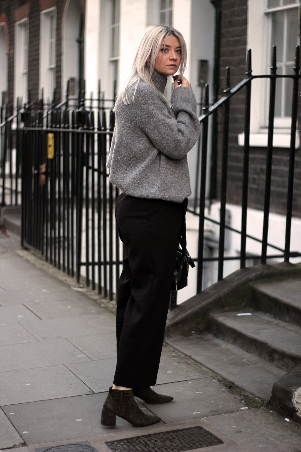 grey jumper, black trousers, suede boots, northern magpie, joey taylor 2
