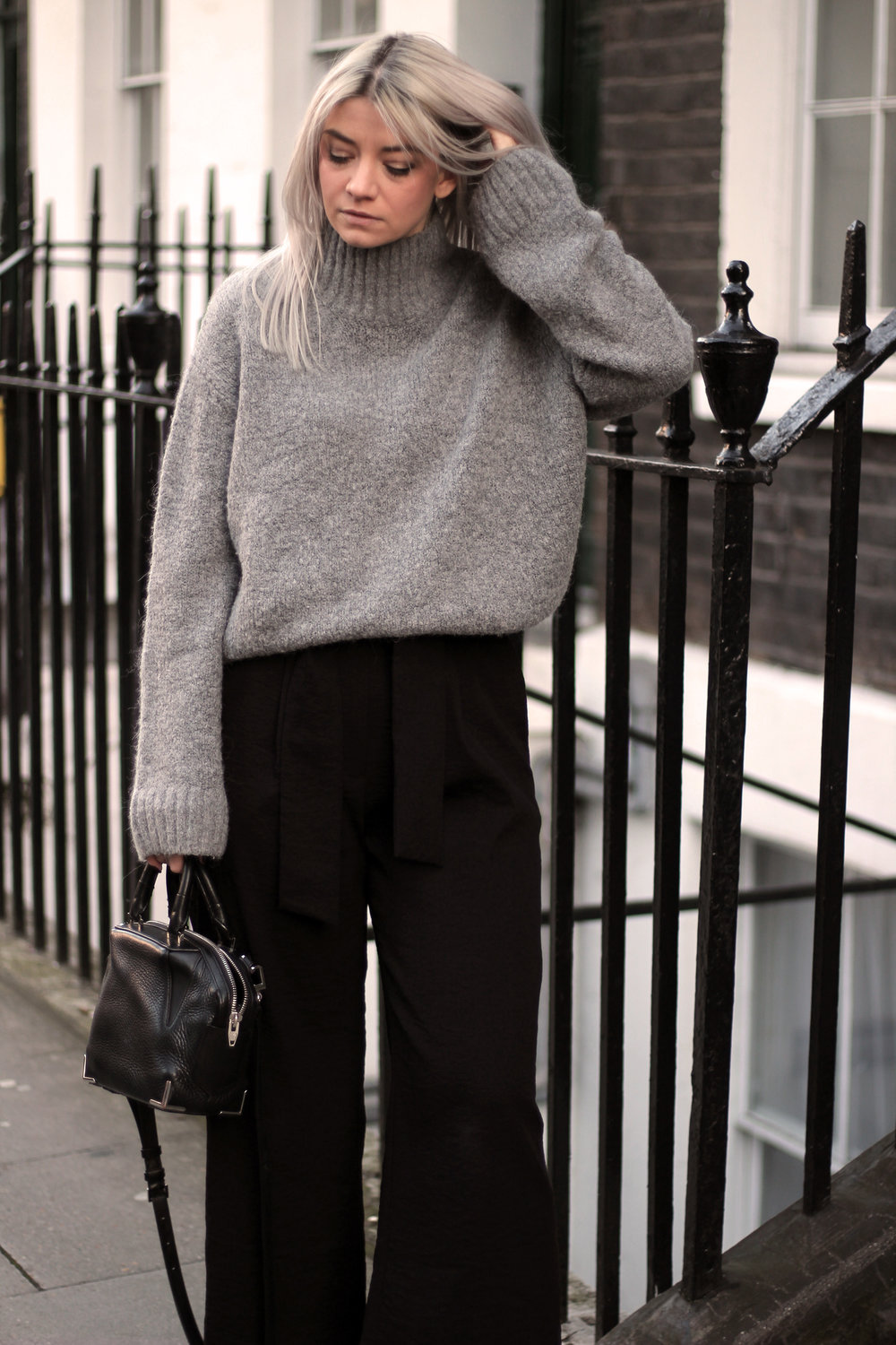 grey jumper, black trousers, suede boots, northern magpie, joey taylor 5