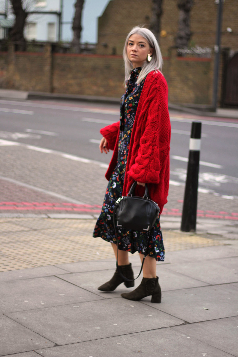 midi dress, red cardigan, suede boots, northern magpie, joey taylor 1