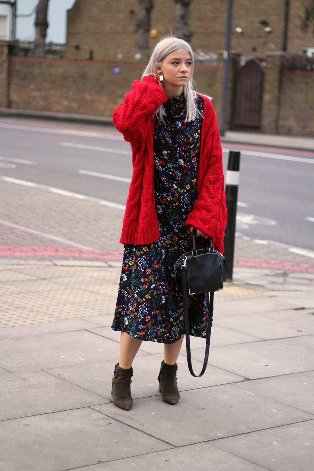 midi dress, red cardigan, suede boots, northern magpie, joey taylor 5