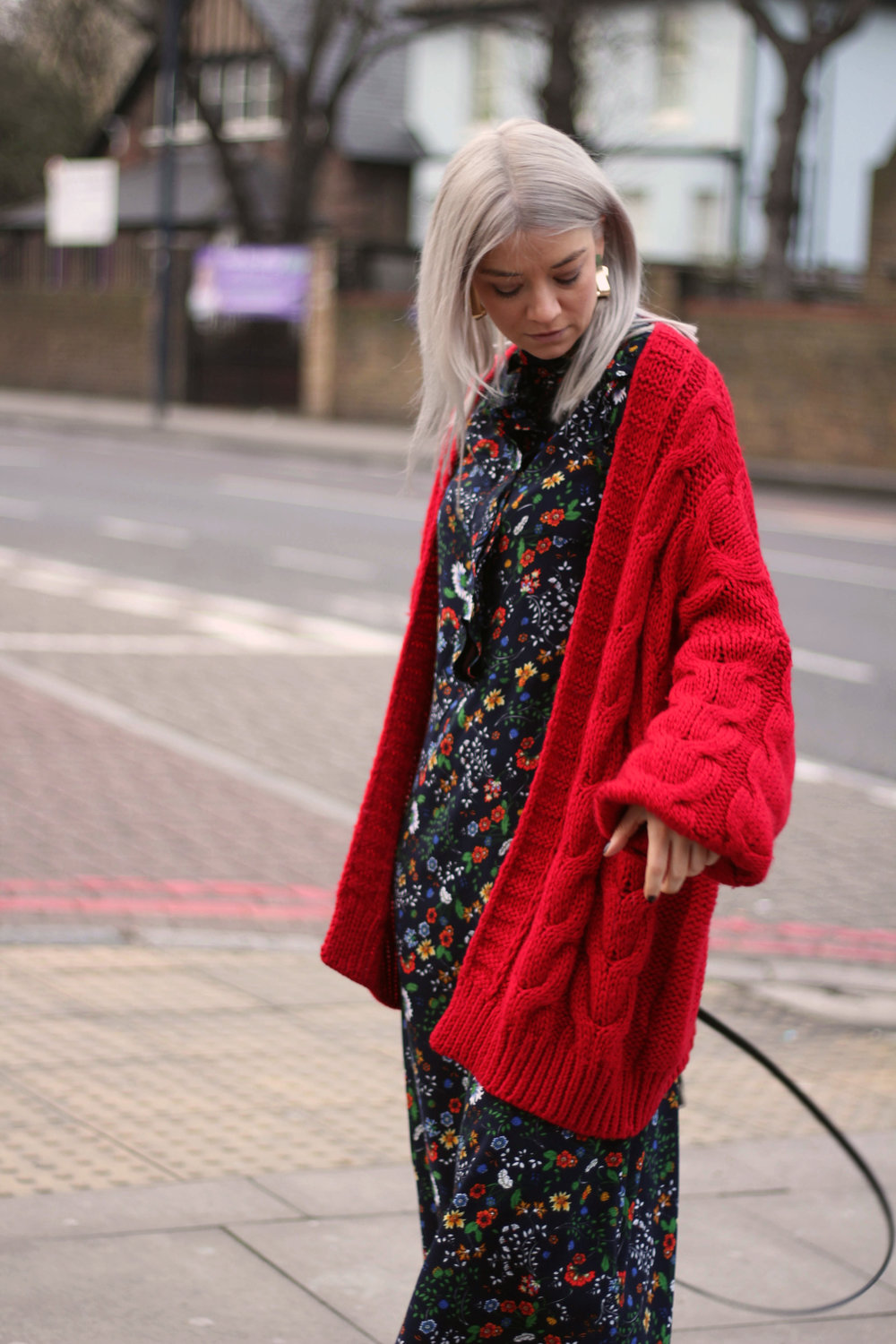 midi dress, red cardigan, suede boots, northern magpie, joey taylor 6