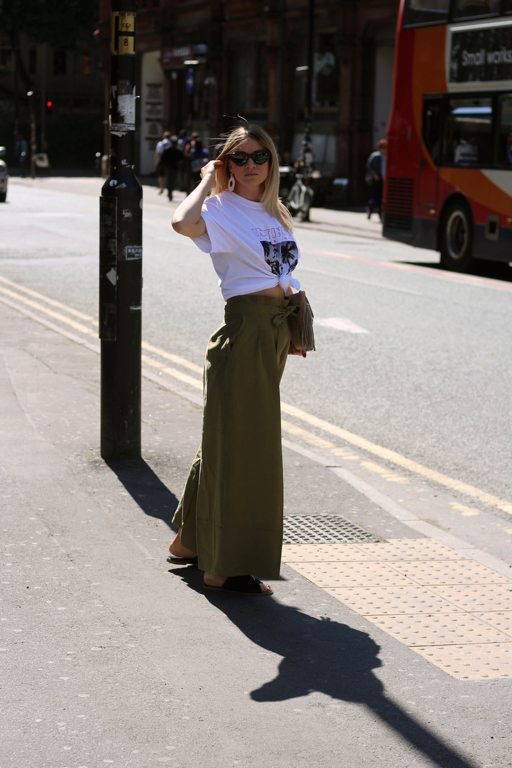 front print t-shirt, paper bag trousers, geometric earrings, manchester, joey taylor, northern magpie 3