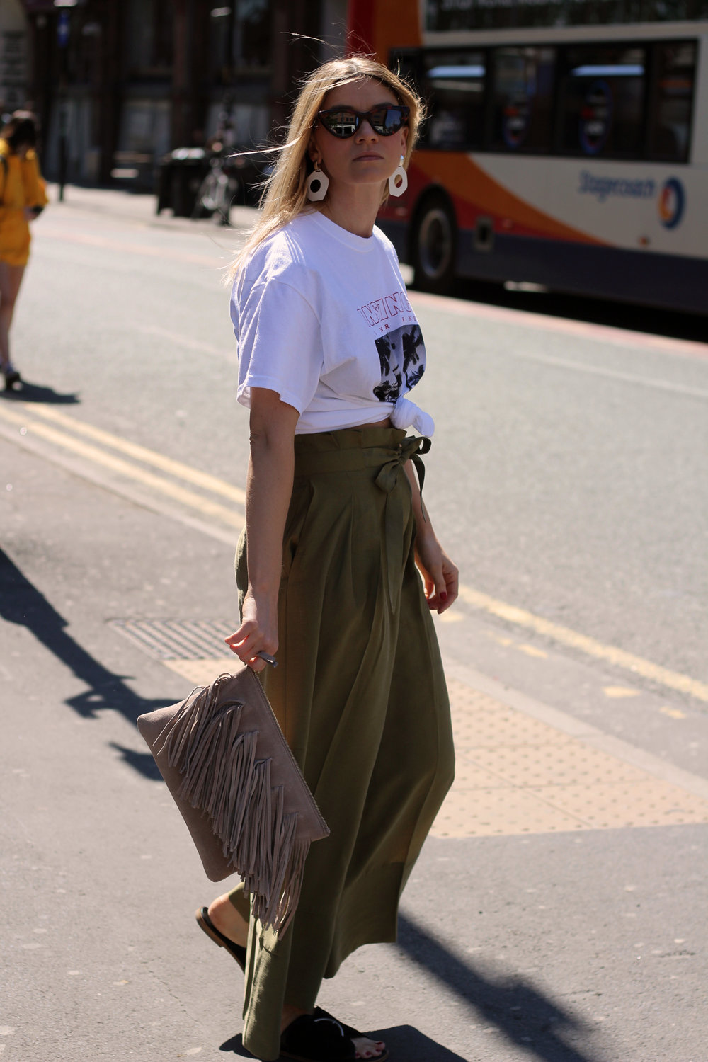 front print t-shirt, paper bag trousers, geometric earrings, manchester, joey taylor, northern magpie 7