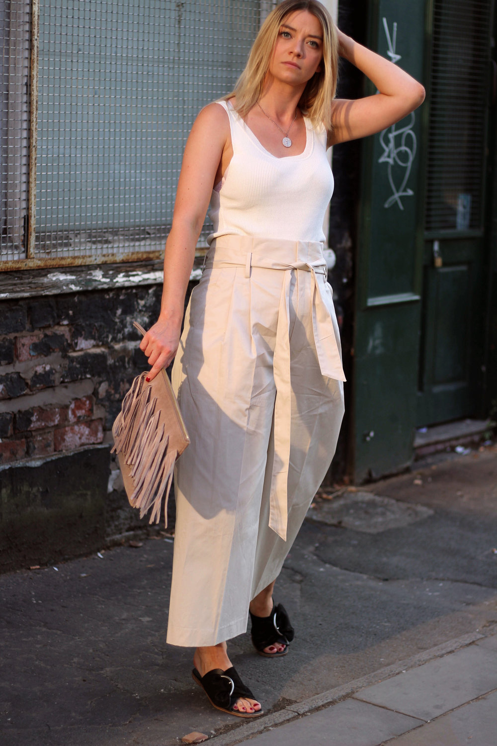 perfect ouffit for summer, Julie Pelipas, Man Repeller, northern magpie, paper bag waist trousers, tank top, joey taylor 5