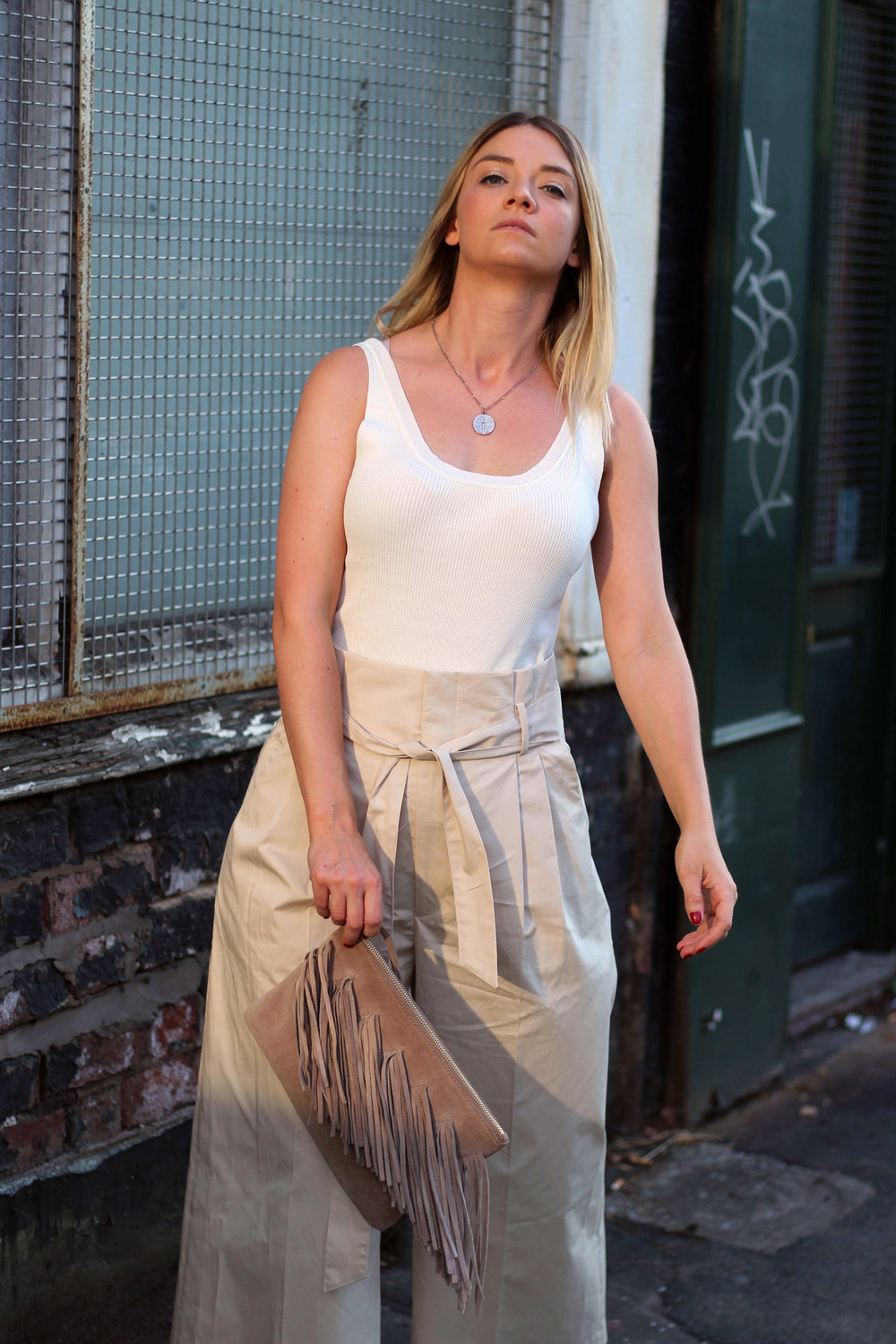 perfect ouffit for summer, Julie Pelipas, Man Repeller, northern magpie, paper bag waist trousers, tank top, joey taylor 6