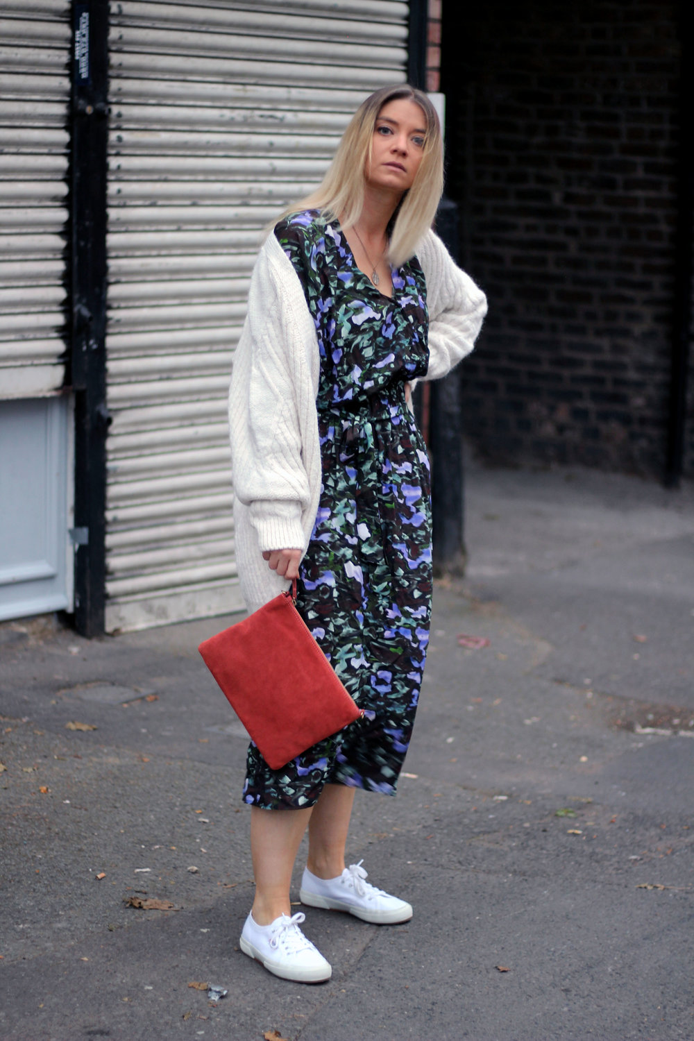 cream cardigan, suede clutch bag, floral dress, northern magpie, joey taylor 5