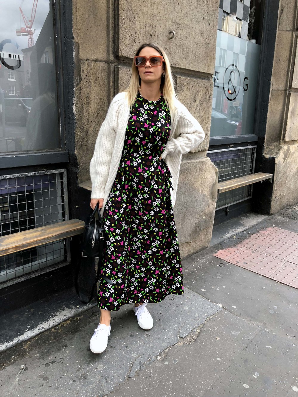 TOPSHOP BOUTIQUE DRESS, CHUNKY CARDIGAN, NORTHERN MAGPIE, MANCHESTER BRUNCH PLACES 1