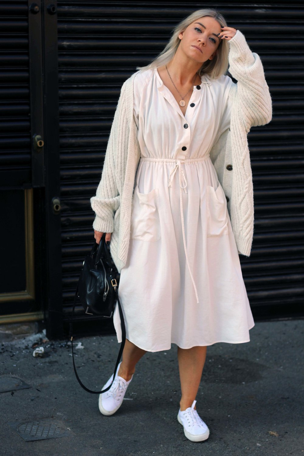 zara linen dress, cream cardigan, superga trainers, northern magpie, joey taylor 1