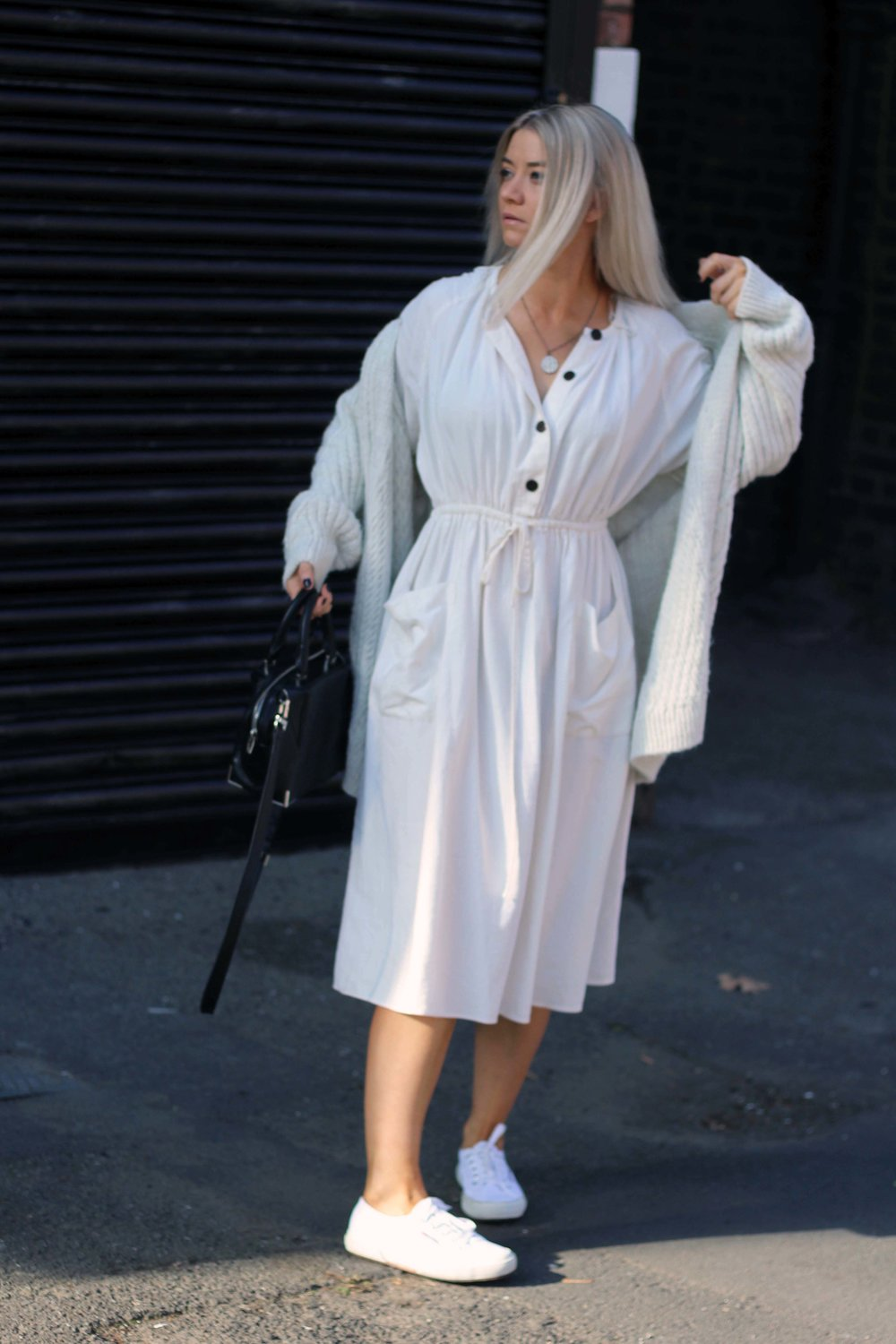 zara linen dress, cream cardigan, superga trainers, northern magpie, joey taylor 5