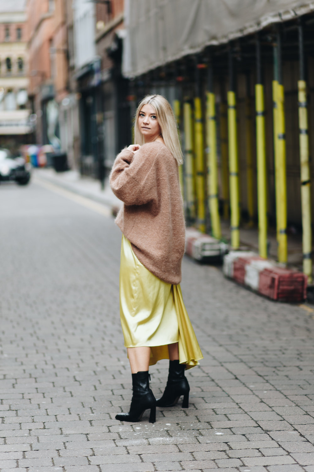 silky slip skirt, oversized knitwear, northern magpie, joey taylor 3