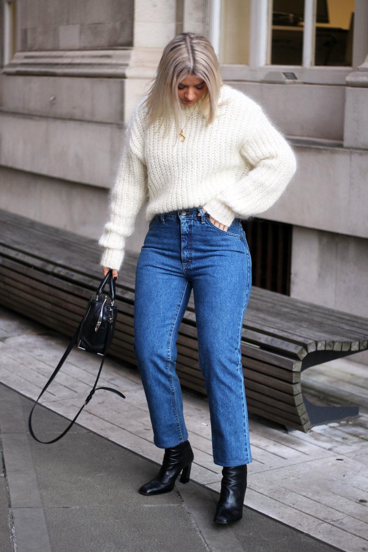vintage jeans, Lee jeans, H&M jumper, black boots, northern magpie, joey taylor 1