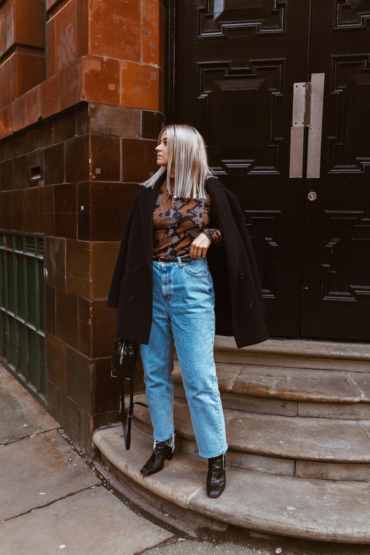 snake print, vintage jeans, black boots, oversized blazer, northern magpie, joey taylor 2