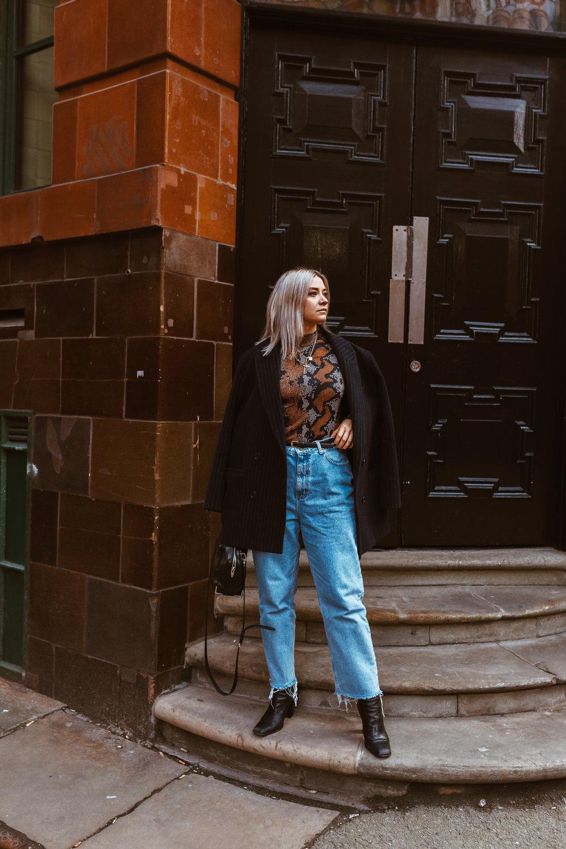 snake print, vintage jeans, black boots, oversized blazer, northern magpie, joey taylor 6