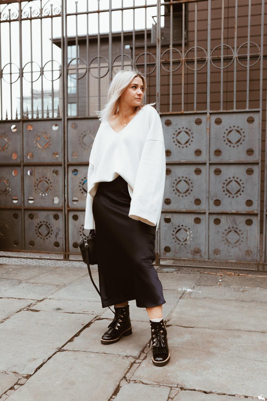 Tokyo Ramen review, Topshop slip skirt, cream knitwear, northern magpie, joey taylor 2