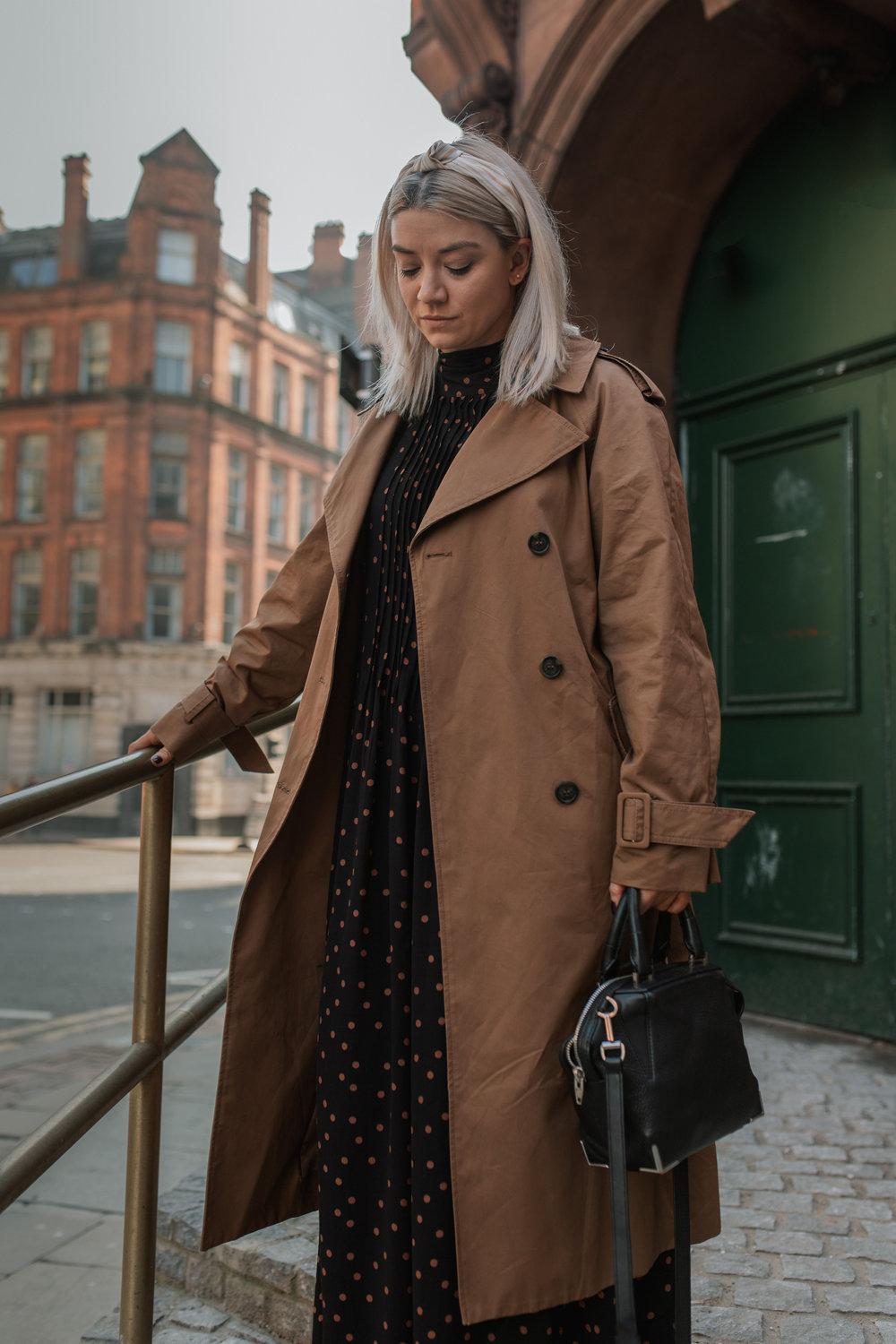 topshop maxi dress, polka dot dress, suede boots, trench coat, joey taylor, northern magpie, headbands 4