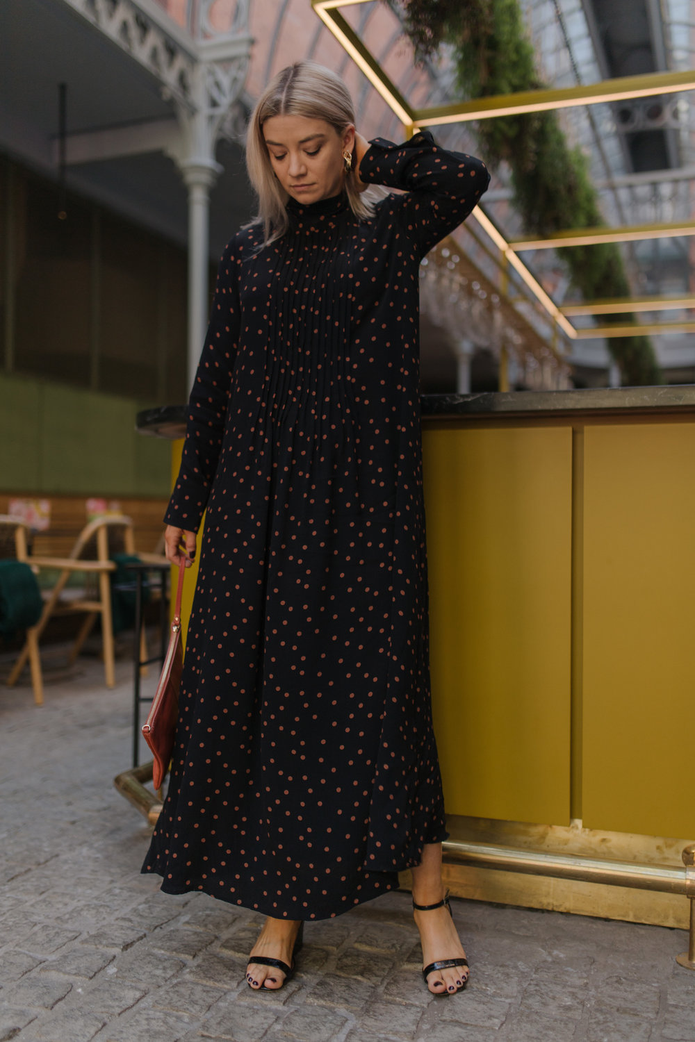 topshop maxi dress, polka dot dress, topshop black sandals, gold hoop earrings, joey taylor, northern magpie, headbands, clutch bags 2