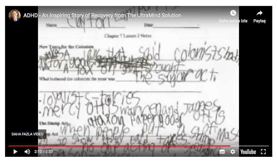 Tedavi öncesi Clayton'un el yazısı.