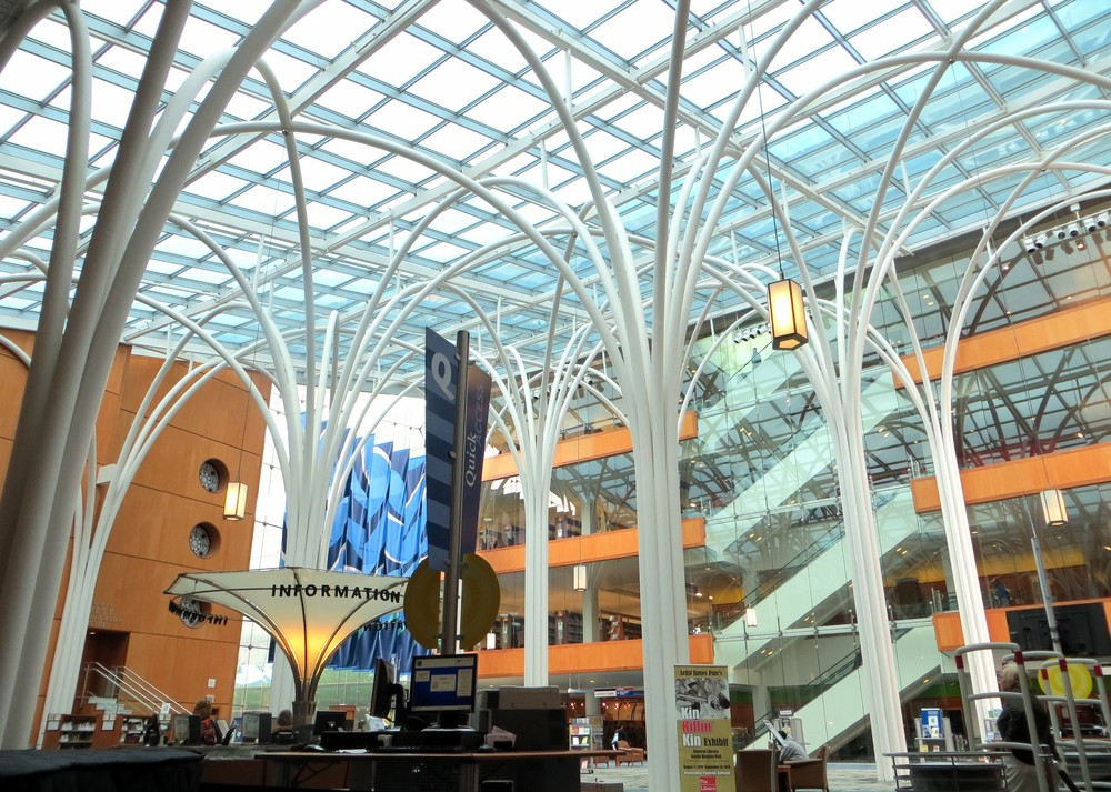The Central Library Atrium, part of the building addition completed in 2007.