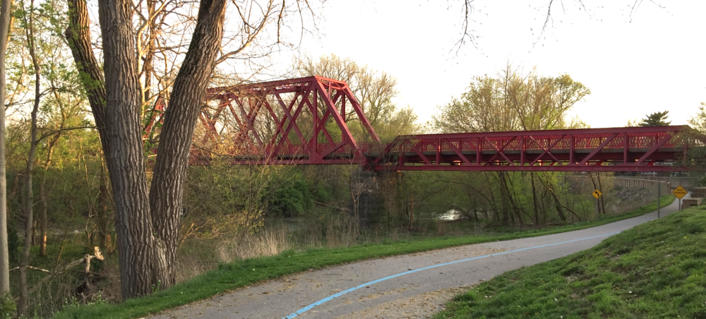 This trestle bridge built by the Monon Railroad now serves trail users crossing Fall Creek waterway.