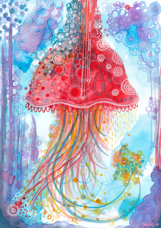 Jelly fish , ink and white gelly roll on 21x29.7cm paper.