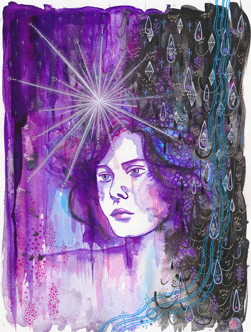 Star , ink and gelly rolls on 24x32