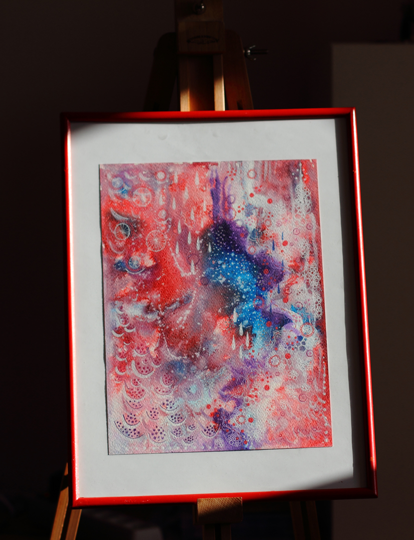 Blush  painting framed and photographed under harsh lighting (nice and dramatic, yay!)