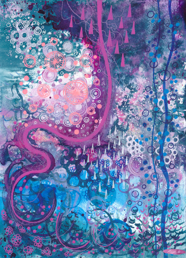 Pink bend, ink and gelly rolls on 18x25cm paper.