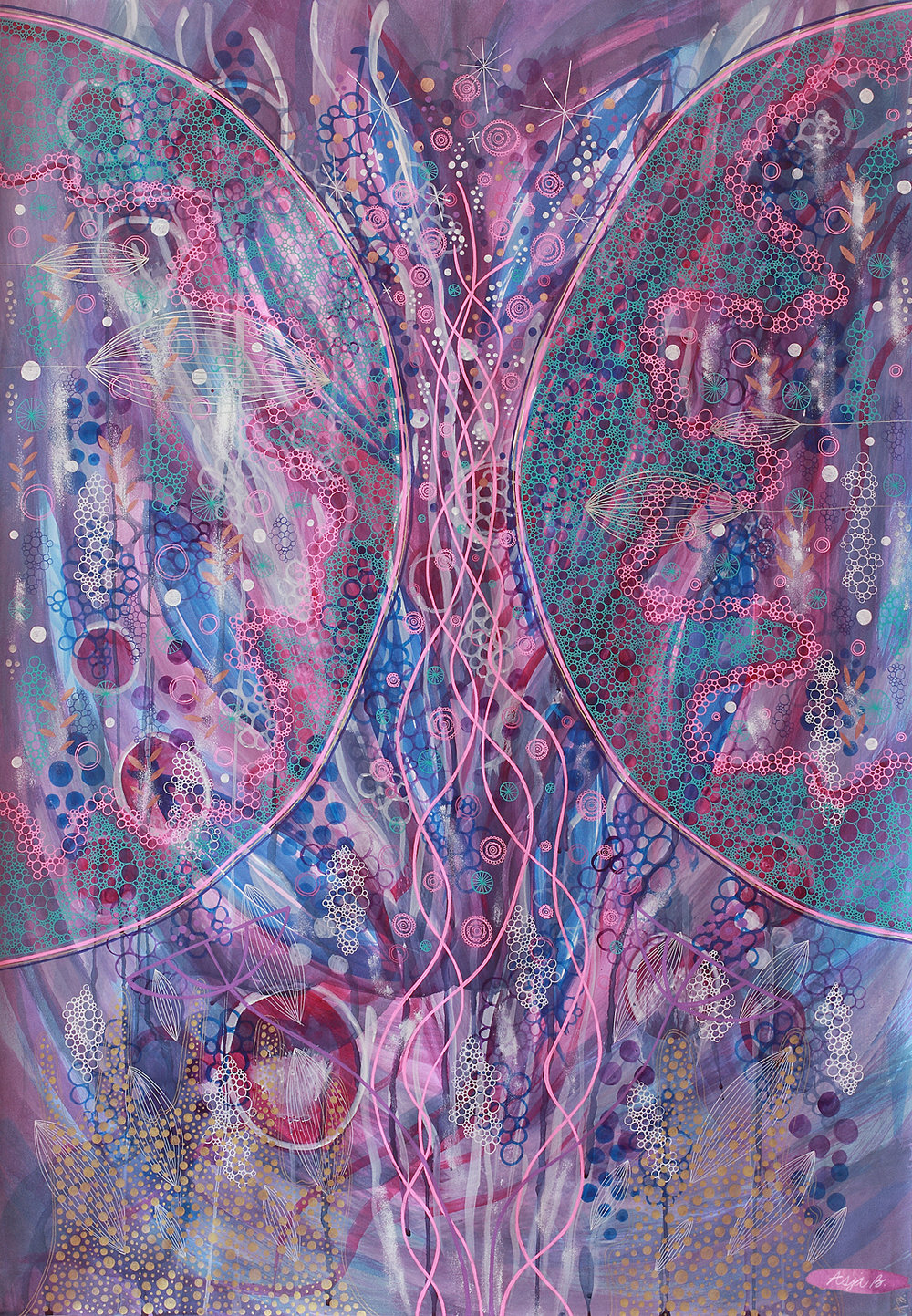 Desire, ink and gelly rolls on 70x100cm paper.