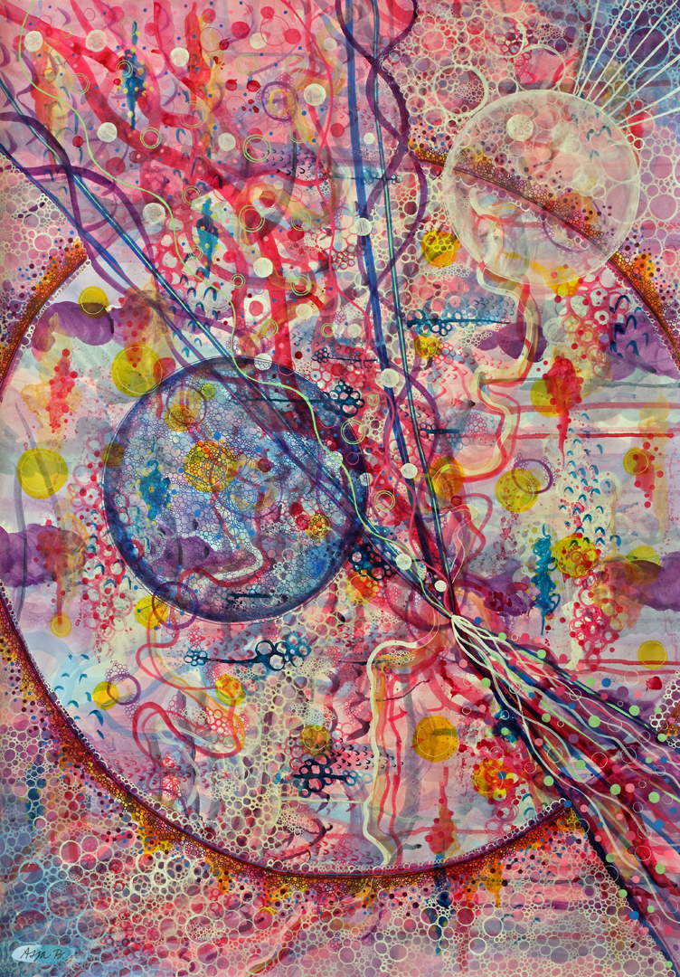 Cosmic love , ink and gelly rolls on 70x100cm paper.