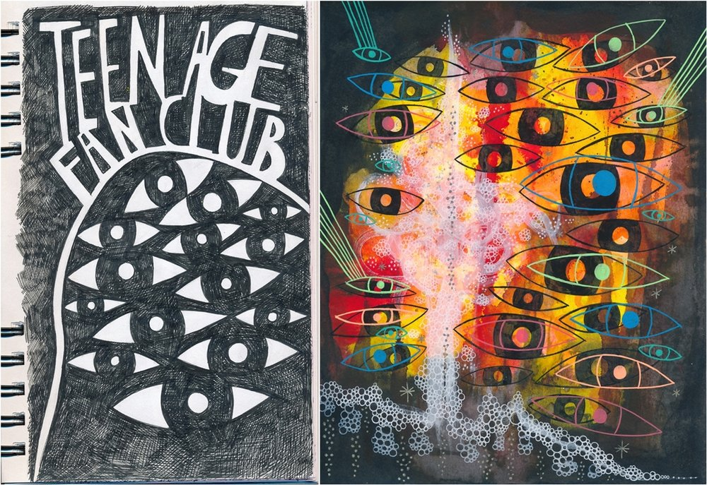 On the left: a page from my sketchbook, on the right:  Teenage fan club , ink on 20x25cm paper.