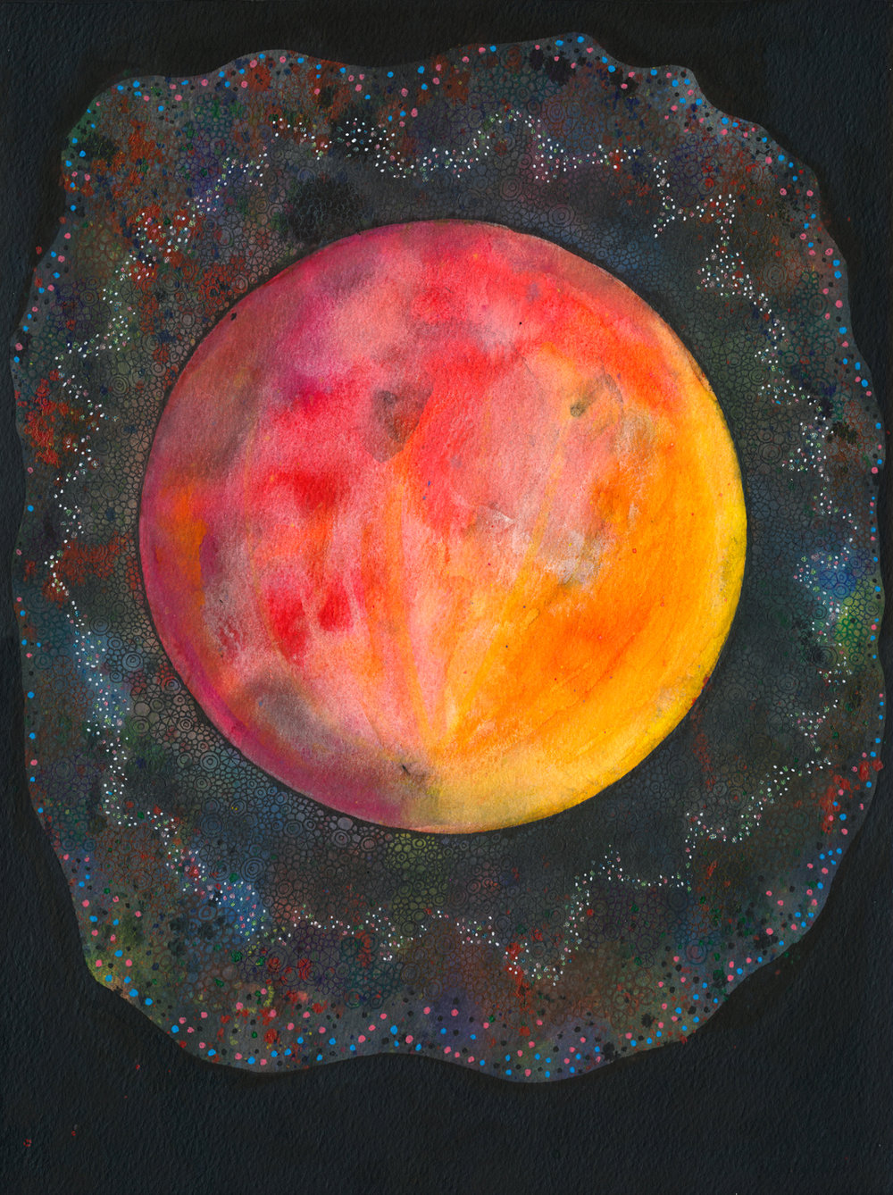 Lunar eclipse, ink on paper.