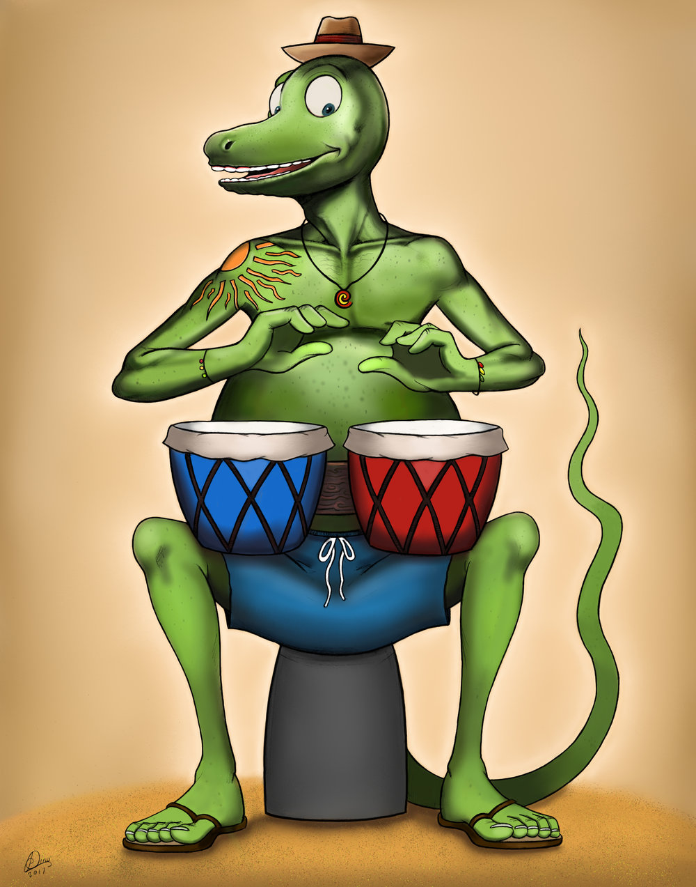 Lizard Bongo Player